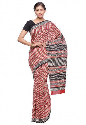 Block Printed Pure Cotton Saree in Red