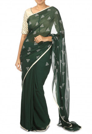 Block Printed Pure Georgette Saree in Dark Green