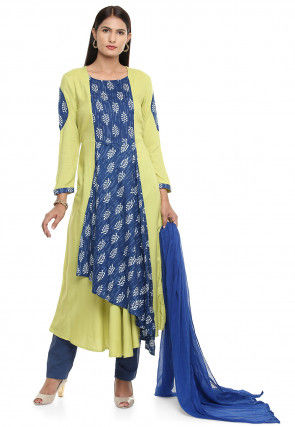 Block Printed Rayon A Line Suit in Light Green and Blue