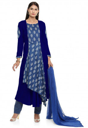 Block Printed Rayon Pakistani Suit in  Royal Blue and Blue