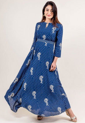 Block Printed Rayon Cotton Dress in Indigo Blue