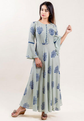 Block Printed Rayon Cotton Long Kurta in Light Grey