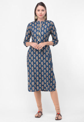Block Printed Rayon Cotton Straight Kurta in Blue