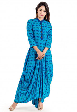 Block Printed Rayon Cowl Style Dress in Light Blue