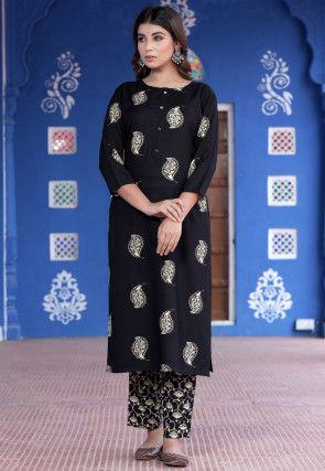 Block Printed Rayon Pakistani Suit in Black