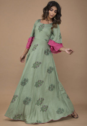 Block Printed Rayon Slub Flared Gown in Dusty Green
