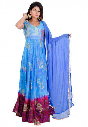 Block Printed Satin Abaya Style Suit in Blue and Maroon