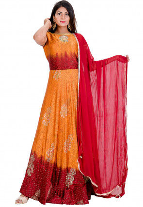 Block Printed Satin Abaya Style Suit in Mustard and Maroon