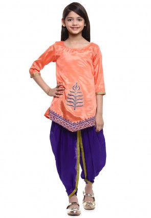 Block Printed Shantoon Kurti Dhoti Set in Orange