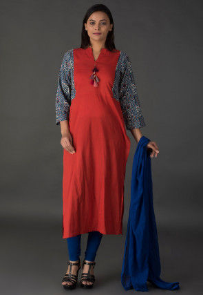 Block Printed Sleeve Cotton Straight Suit in Red