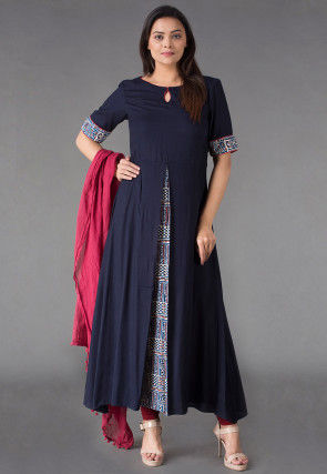 Block Printed Slit Rayon A Line Suit in Navy Blue