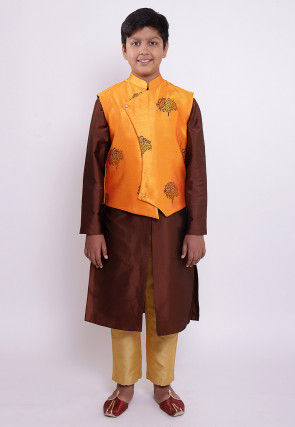 Block Printed Taffeta Silk Sherwani Set in Brown and Orange