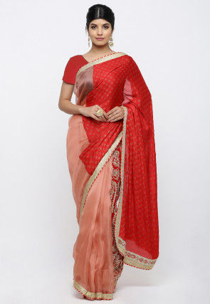 Block Printed Tissue Net Saree in Red and Peach