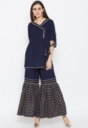 Block Printed Trim Crepe Angrakha Style Kurti Set in Navy Blue