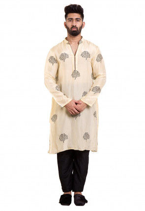 Block Printed Upadda Silk Kurta in Light Beige