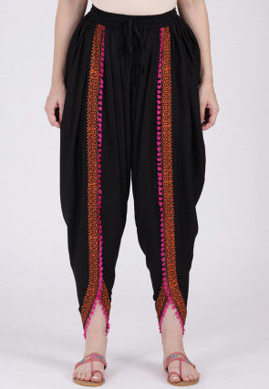 Block Printed Viscose Cotton Dhoti Pant in Black