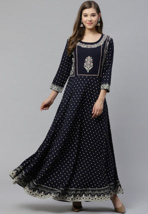 Block Printed Viscose Rayon Kurta in Dark Blue