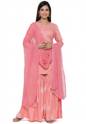 Block Printed Viscose Rayon Pakistani Suit in Pink