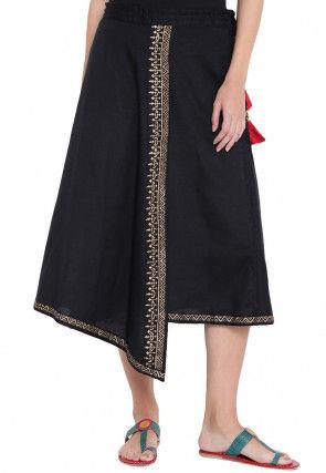 Block Printed Viscose Skirt in Black