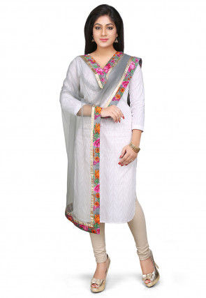 Patch Border Net Dupatta in Grey
