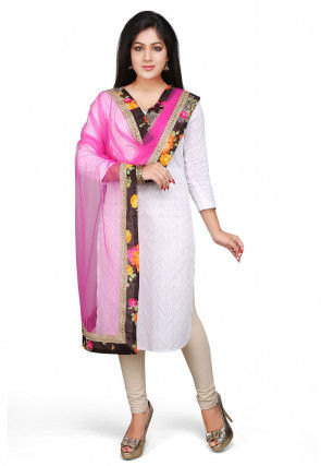 Patch Border Net Dupatta in Fuchsia