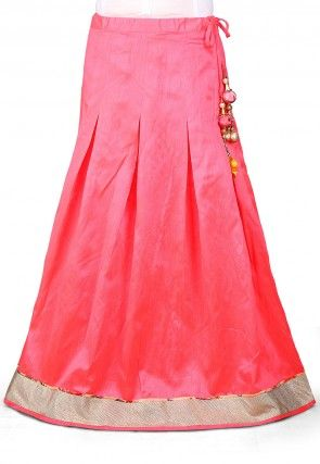 Plain Dupion Art Silk Skirt in Pink