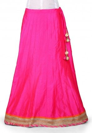 Plain Dupion Art Silk Skirt in Fuchsia