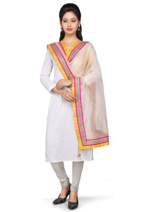 Patch Border Pure Kota Tissue Dupatta in Beige
