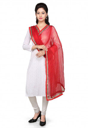Printed Pure Georgette Dupatta in Red