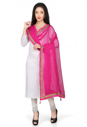 Printed Pure Georgette Dupatta in Fuchsia