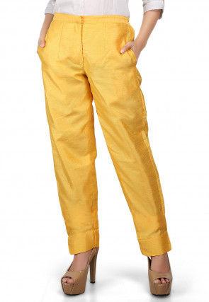 Plain Art Dupion Silk Trouser in Yellow