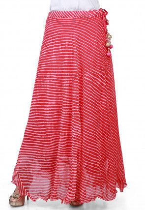 Lehariya Georgette Long Skirt in Pink