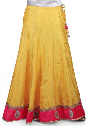 Embroidered Patch Border Dupion Silk Long Skirt in Yellow