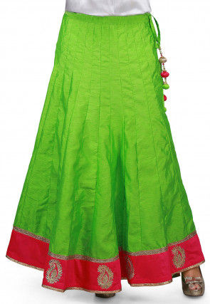 Gota Lace Border Bhagalpuri Silk Long Skirt in Neon Green