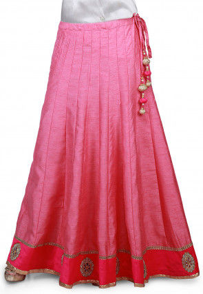Embroidered Patch Border Bhagalpuri Silk Long Skirt in Pink