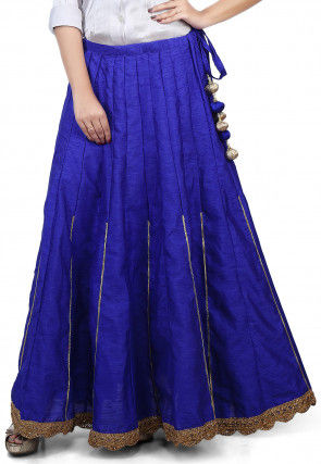 Scallop Border Bhagalpuri Silk Long Skirt in Royal Blue