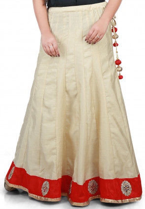 Embroidered Patch Border Bhagalpuri Silk Long Skirt in Beige