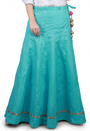 Embellished Border Bhagalpuri Silk Long Skirt in Turquoise