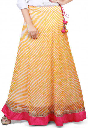 Lehariya Georgette Long Skirt in Yellow