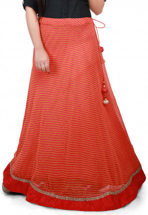 Lehariya Georgette Long Skirt in Orange