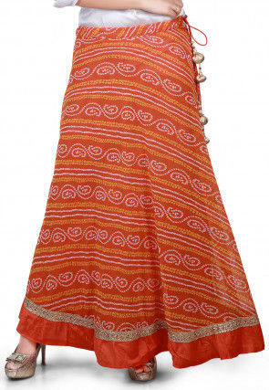 Bandhej Georgette Long Skirt in Orange