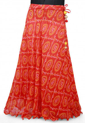 Bandhej Georgette Long Skirt in Red
