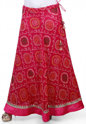 Bandhej Georgette Long Skirt in Magenta