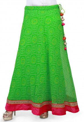 Bandhej Georgette Long Skirt in Green