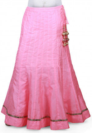 Embellished Border Bhagalpuri Silk Long Skirt in Baby Pink
