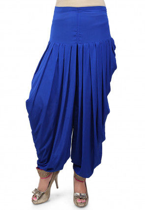 Pleated Crepe Patiala in Royal Blue