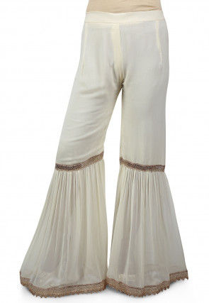 Pleated Georgette Sharara in Off White