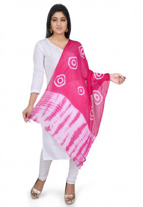 Tie N Dye Chiffon Dupatta in Pink