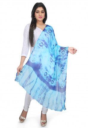 Tie N Dye Chiffon Dupatta in Blue