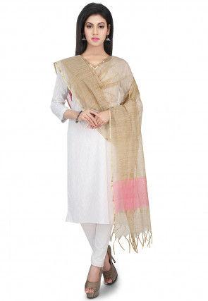 Ghicha Woven Chanderi Cotton Dupatta in Beige